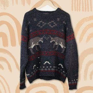 Vintage Woolrich Wool Oversized Sweater Deer Dad
